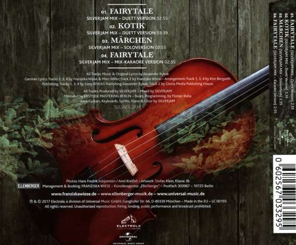 Franziska Wiese & Alexander Rybak_Fairytale (EP) (Silverjam Mix)_All Tracks Produced by SILVERJAM_Back Cover